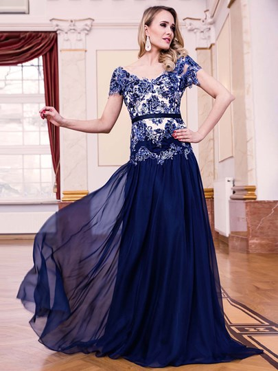 V-Neck Appliques Sashes Sequins Evening Dress