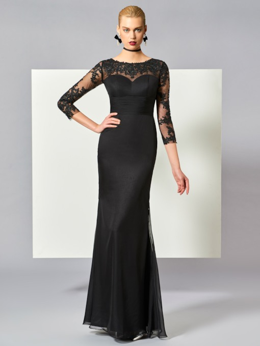 Sheath Appliques 3/4 Length Sleeves Evening Dress