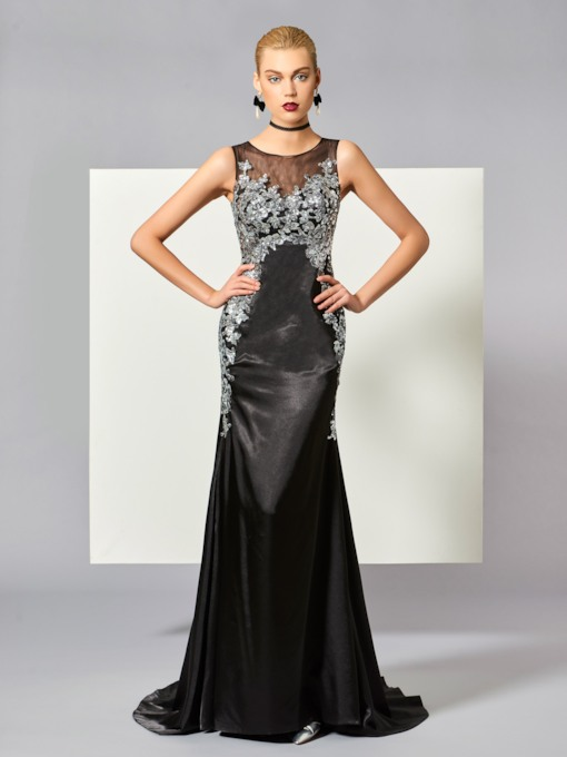 Bateau Sheath Appliques Button Sweep Train Evening Dress