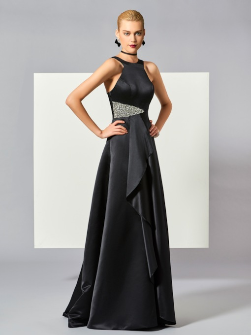 A-Line Straps Beading Ruched Floor-Length Evening Dress