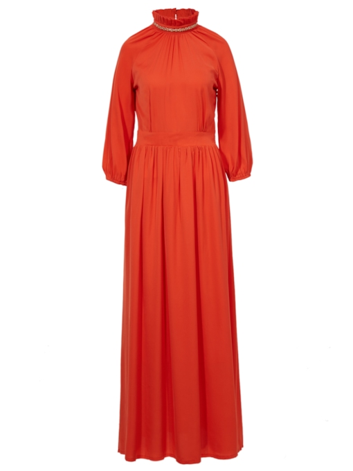 Round Neck Nine Points Sleeve Pleated Women's Maxi Dress (Plus Size Available)