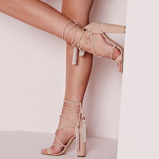 Lace-Up Plain Chunky Heel Open Toe Women's Heel Sandals