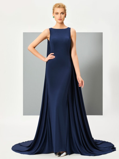 Button Appliques Watteau Train Evening Dress