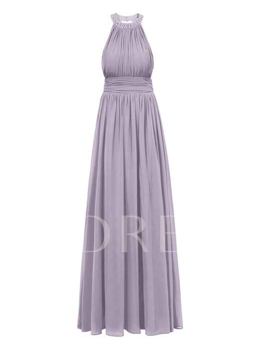 A-Line Halter Beading Pearls Pleats Ruched Evening Dress