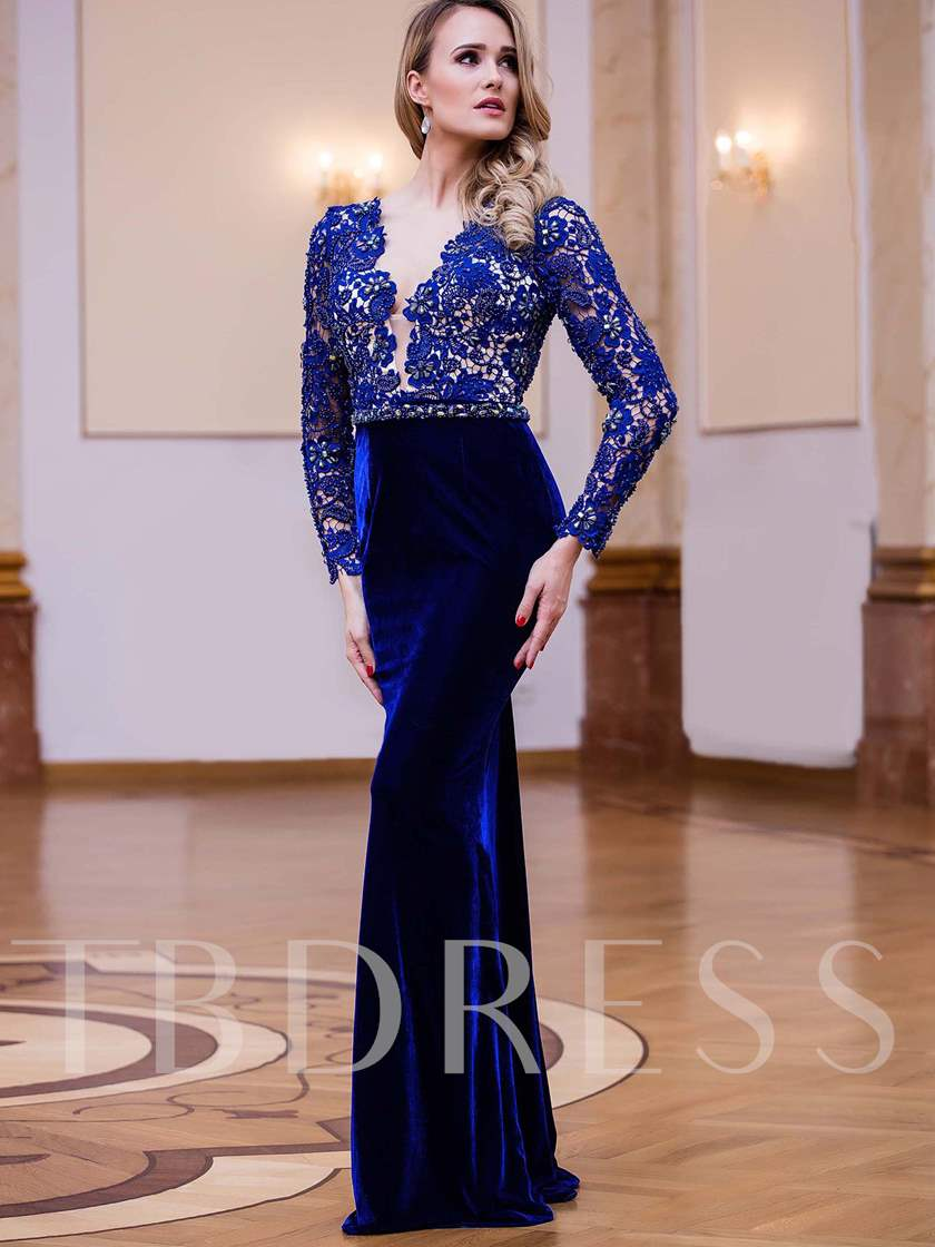 Sheath V-Neck Velvet Lace Beading Sashes Floor-Length Evening Dress