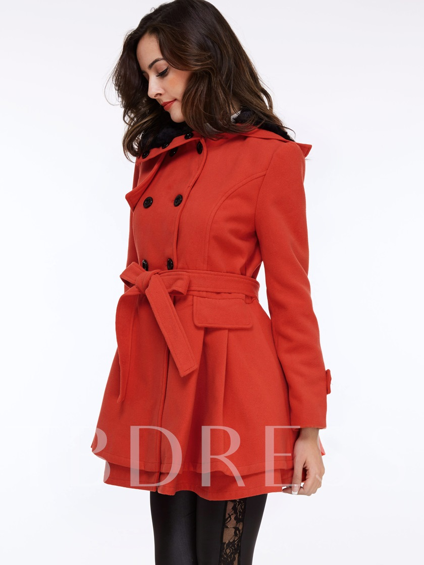 Solid Color Pleated Falbala Hem Women's Overcoat