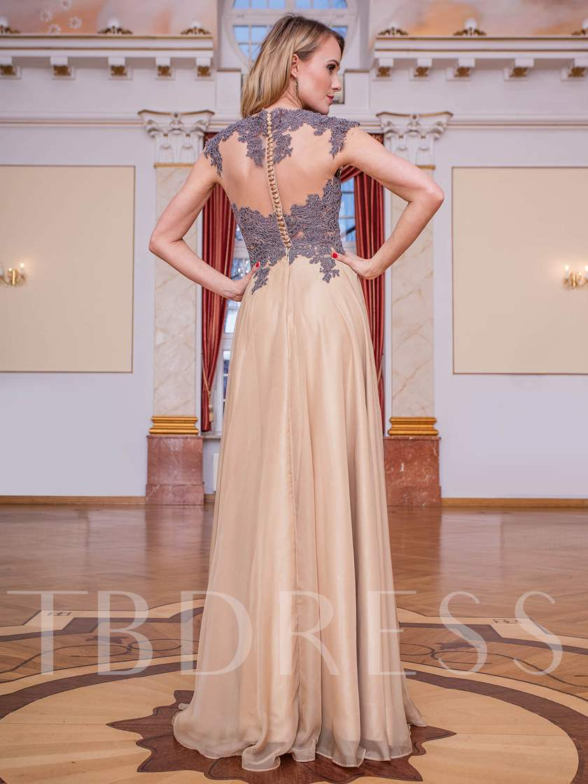 Jewel A-Line Cap Sleeves Button Appliques Long Evening Dress