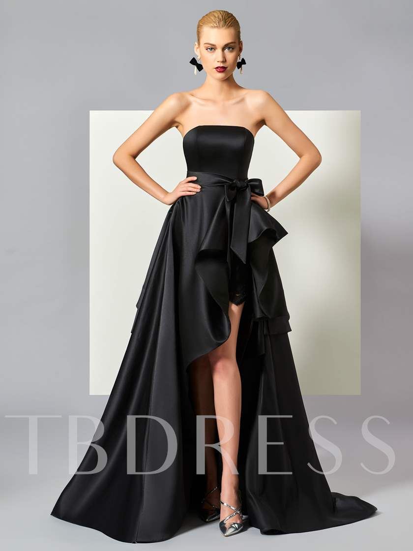 Bowknot Ruched Split-Front Tiered Evening Dress