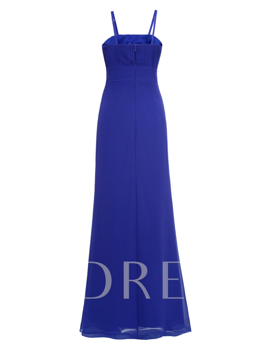 Removable Straps Draped Ruffles Ankle-Length Evening Dress