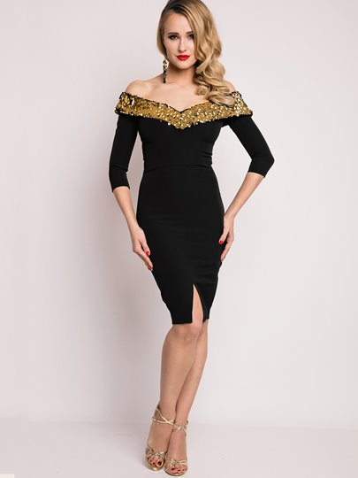 Mid-Calf V-Neck Half Sleeve Women's Sheath Dress