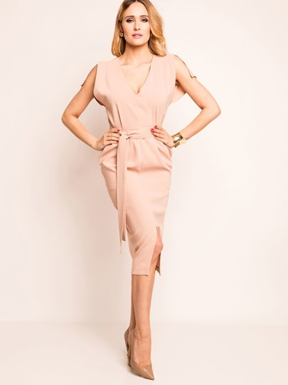 V-Neck Pocket With Belt Women's Sheath Dress