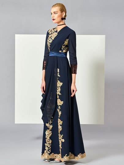 Jewel Appliques Draped Muslim Evening Dress