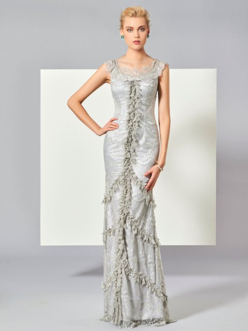 Sheath Scoop Lace Beaded Floor-Length Evening Dress