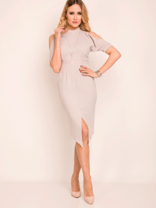 Charming Plain Asymmetrical Off-the-Shoulder Women's Bodycon Dress