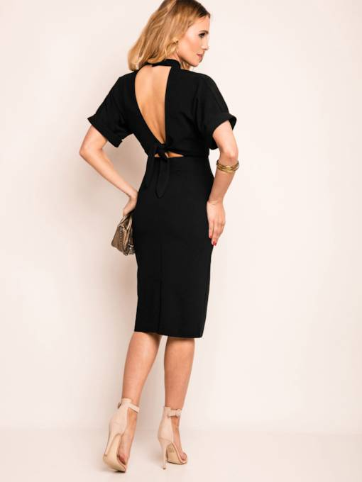 Plain Backless Short Sleeve Women's Bodycon Dress
