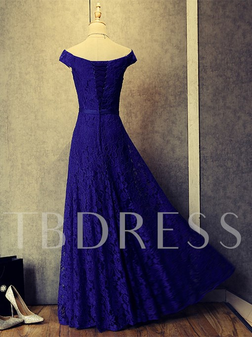 A-Line Off-the-Shoulder Cap Sleeves Lace Evening Dress