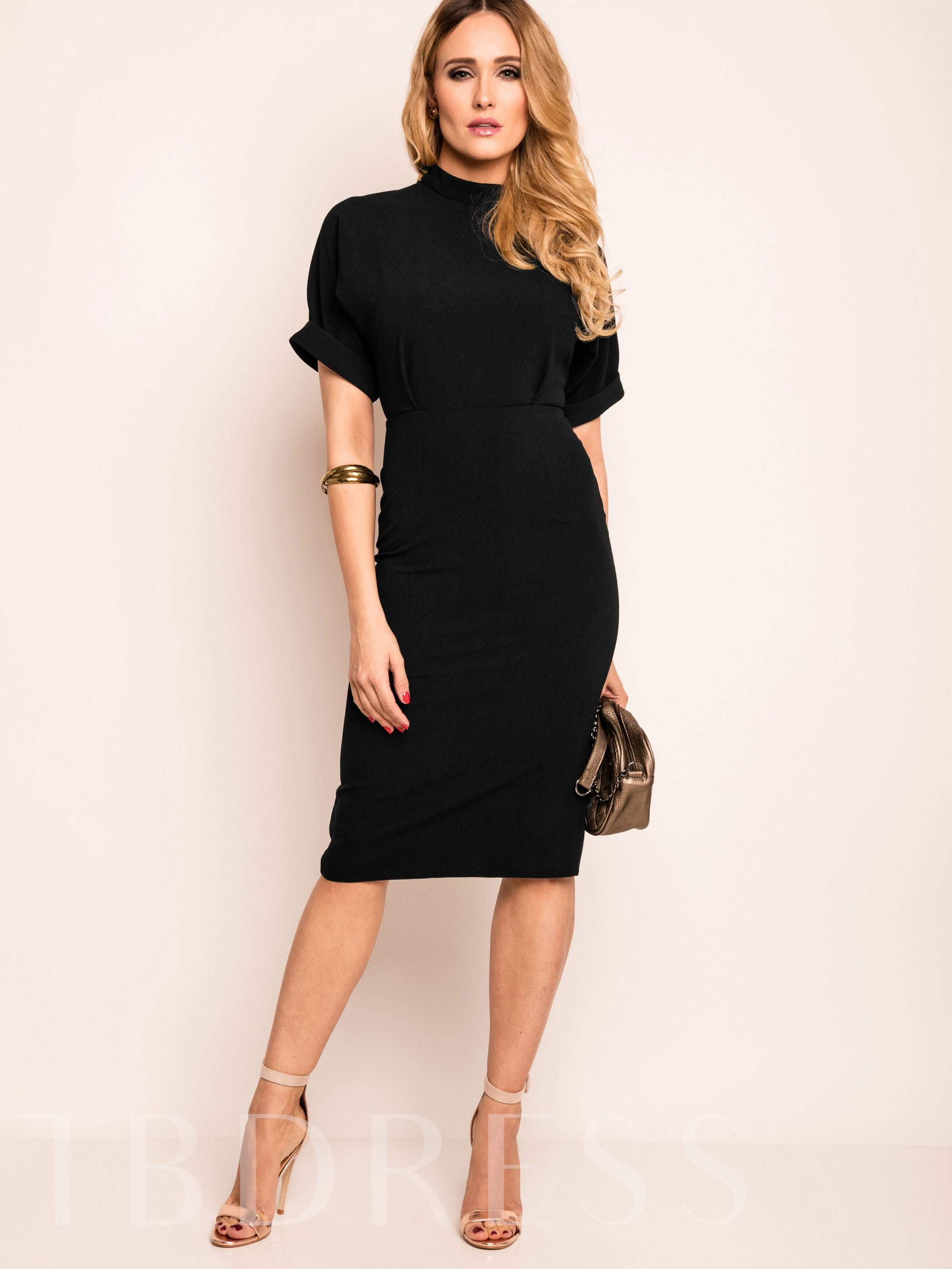 Plain Backless Short Sleeve Women's Bodycon Dress, Summer,Fall, 12748119