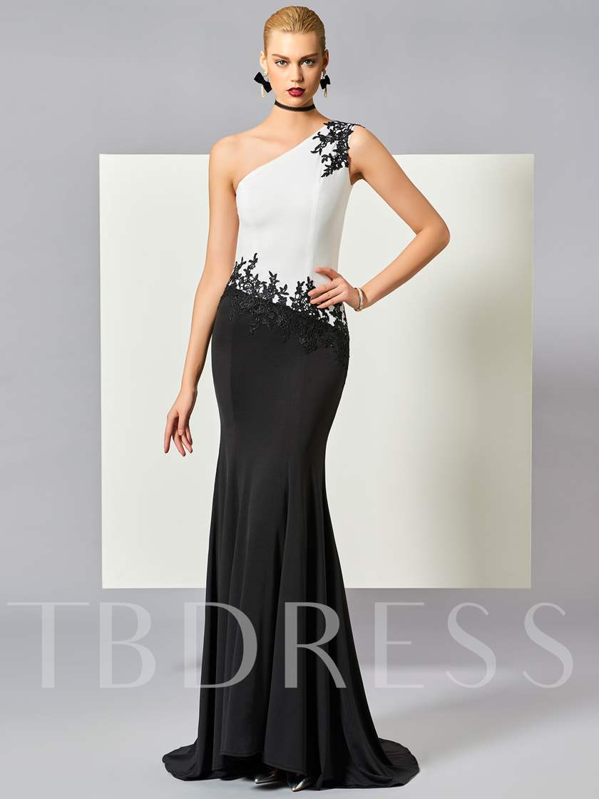 One-Shoulder Mermaid Appliques Beading Sweep Train Evening Dress