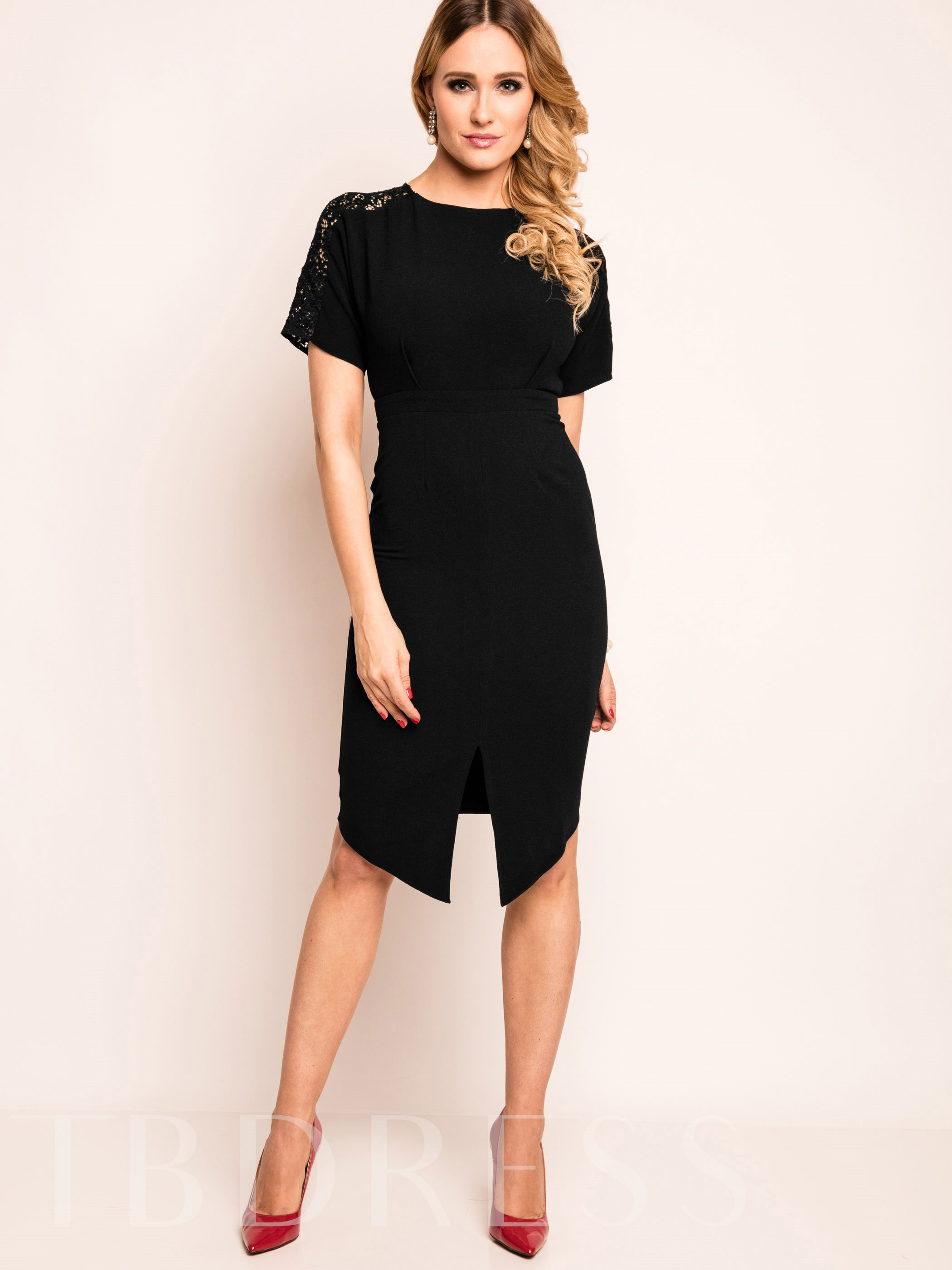 Buy Asymmetric Plain Short Sleeve Women's Bodycon Dress, Summer,Fall, 12748118 for $21.99 in TBDress store