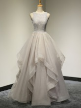 A-Line Scoop Beaded Appliques Lace Floor-Length Prom Dress