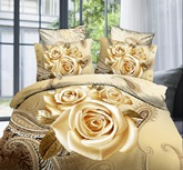 Luxury Golden Rose Printing 4-Piece 3D Bedding Sets/Duvet Covers