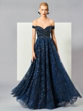 A-Line Off-the-Shoulder Short Sleeves Beading Lace Long Evening Dress