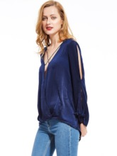 X-Strappy Front Cut Out Sleeve Woman's Blouse