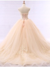 Appliques Beading Ball Gown Vintage Wedding Dress