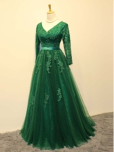 A-Line V-Neck Long Sleeves Appliques Beading Sashes Floor-Length Evening Dress