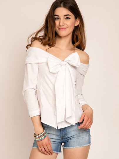 Plain Bow Knot Loose Slash Neck Women's Blouse