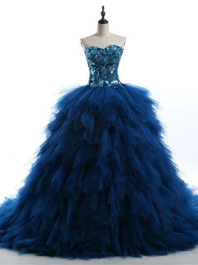 Sweetheart Ball Gown Cascading Ruffles Sequins Chapel Train Quinceanera Dress