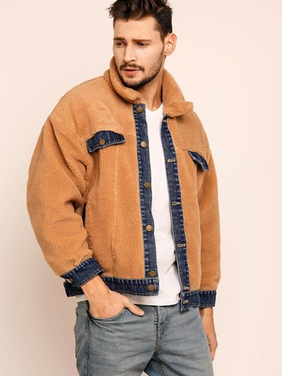 Color Block Lapel Single-Breasted Jacket