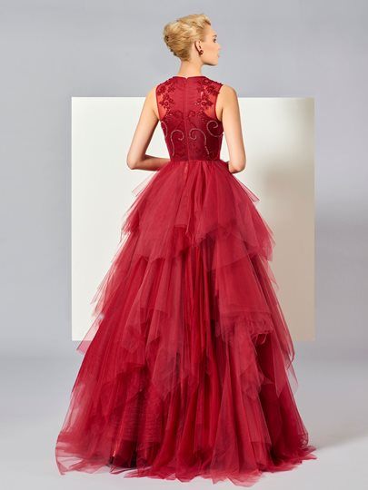 Scoop A-Line Beading Tiered Long Evening Dress