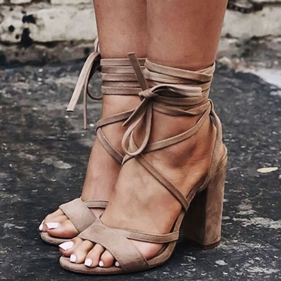 Open Toe Lace-Up Plain Chunky Heel Hollow Women's Sandals