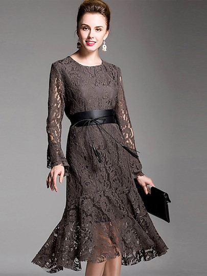 Flare Sleeve Tassels Women's Lace Dress
