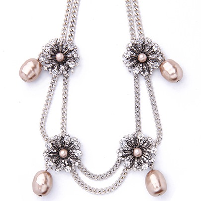 Double Layers Diamante Flowers Pearl Necklace