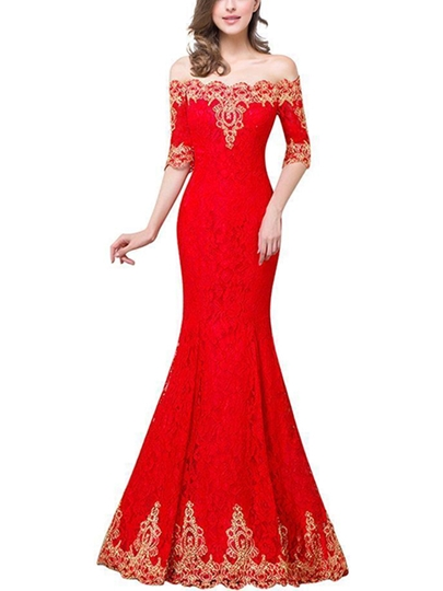 Off-the-Shoulder Appliques Lace Evening Dress