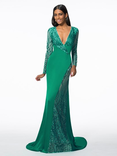 Mermaid V-Neck Sequins Evening Dress