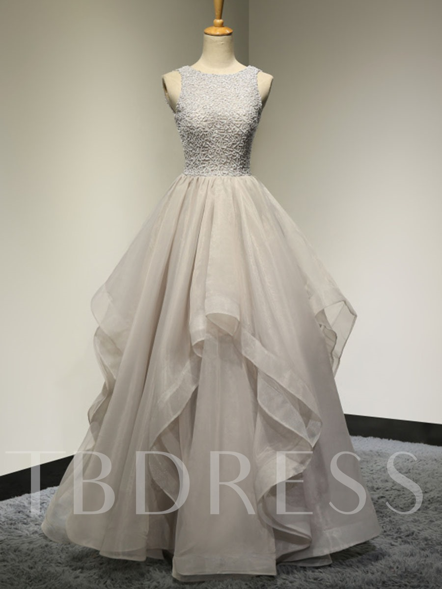 Image of A-Line Scoop Beaded Appliques Lace Floor-Length Prom Dress
