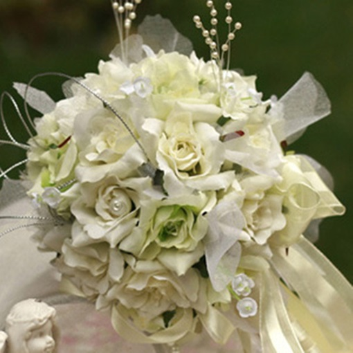 Green-white Silk Cloth Wedding Birdal Bouquet