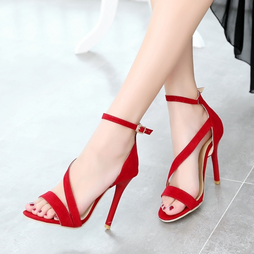 Open Toe Heel Covering Plain Buckle Stiletto Heel Women's Sandals