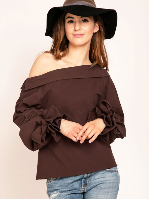 Pure Color Loose Oblique Collar Women's Blouse