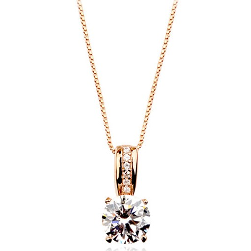 Classic Square Cut Zircon Pendant Necklace
