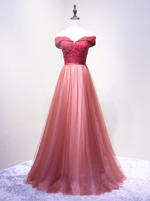 Off-the-Shoulder Flowers A-Line Appliques Beading Sashes Floor-Length Evening Dress