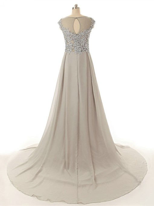 A-Line Appliques Scoop Beading Chapel Train Evening Dress