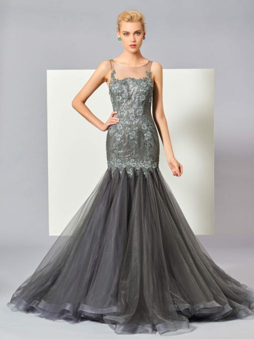 Appliques Bateau Lace Mermaid Sweep Train Evening Dress