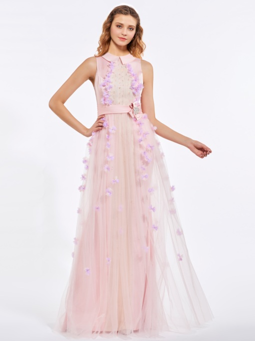 A-Line Jewel Neck Beading Sashes Flowers Floor-Length Prom Dress