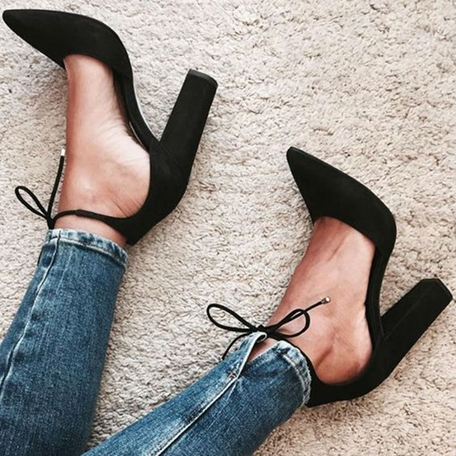 Pointed Toe Chunky Heel Plain Women's Pumps