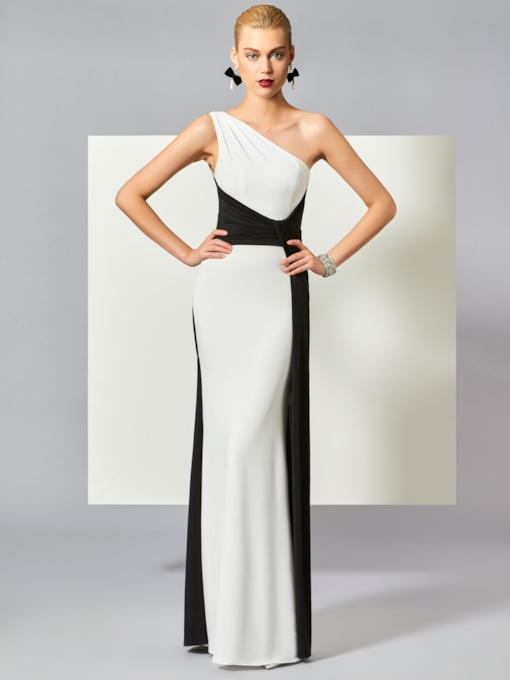 One-Shoulder Sheath Contrast Color Pleats Floor-Length Evening Dress