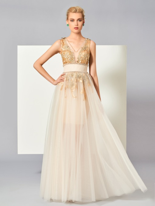 A-Line V-Neck Beading Sequins Floor-Length Evening Dress